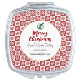 Red and White Snowflake Pattern Merry Christmas Makeup Mirror