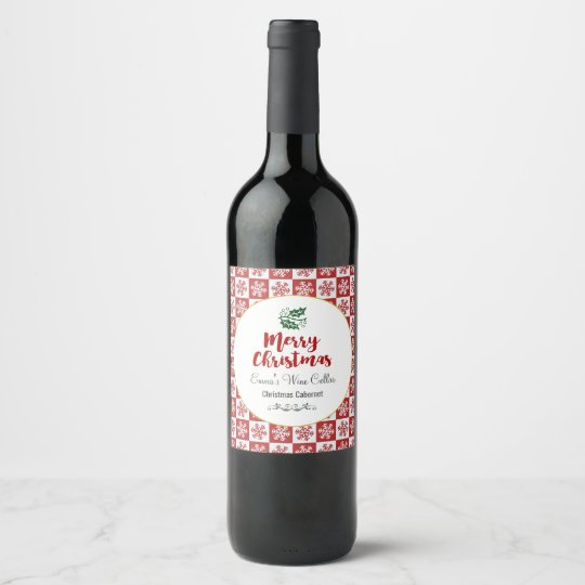 Red and White Snowflake Pattern Merry Christmas Wine Label