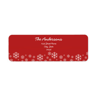 Red and White Snowflake Return Address Labels
