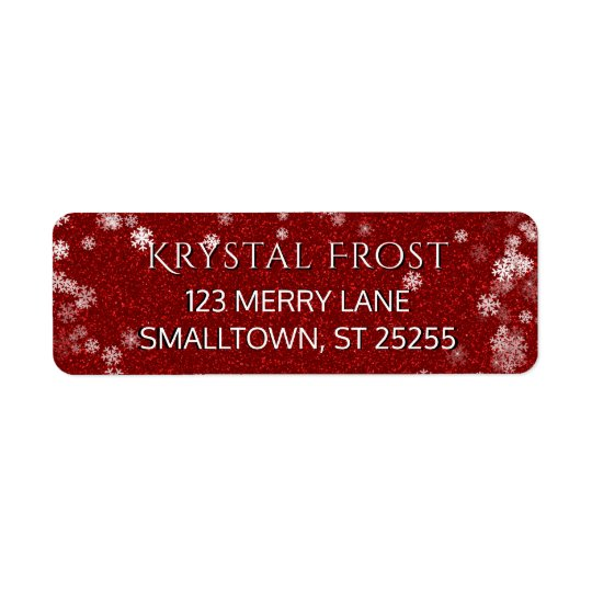 Red and White Snowflakes Christmas Return Address Label