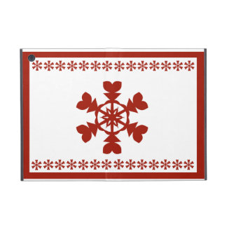 Red and White Snowflakes Holiday Cover For iPad Mini