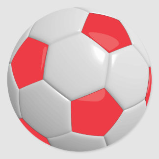 Red and White Soccer Ball Round Sticker