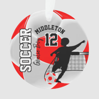 Red and White Soccer Goalie Boy Ornament