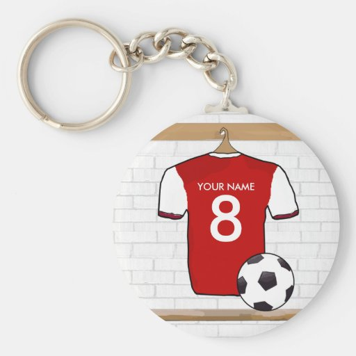 Red and white soccer jersey keychain