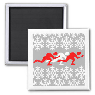 Red and white speed skaters fridge magnets