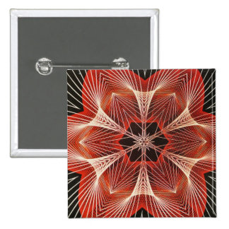 Red and White Spider Web Fractal Art Gifts 15 Cm Square Badge