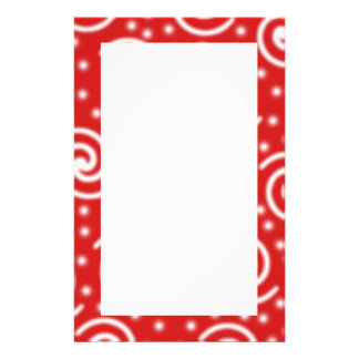 Red and white spiral pattern. stationery design