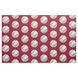 Red And White Sports Theme Baseball Pattern Fabric