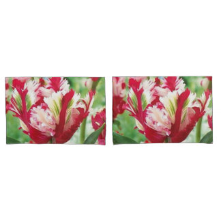 Red and White Spring Tulip Pillowcase