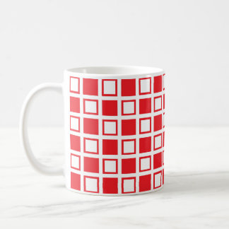 Red and White Squares Coffee Mug