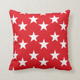 Red and White Star Pattern Accent Pillow