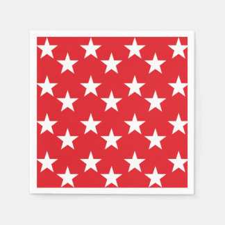 Red and White Star Print Paper Napkins