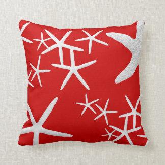 Red and White Starfish Decorative Throw Pillow Cushion