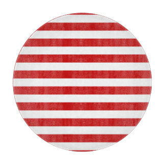 Red and White Stripe Pattern Cutting Board