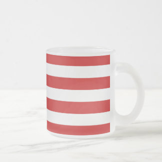 Red and White Stripe Pattern Frosted Glass Coffee Mug