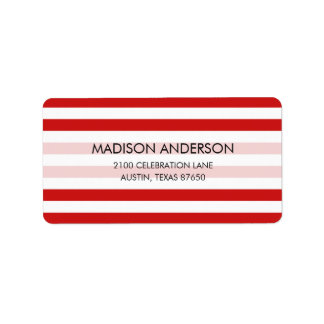 Red and White Stripe Pattern Label