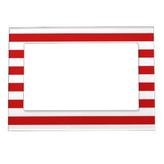 Red and White Stripe Pattern Magnetic Frame