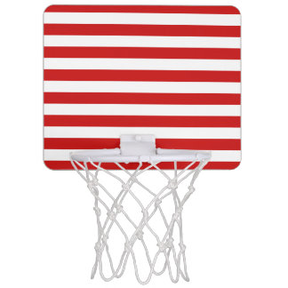 Red and White Stripe Pattern Mini Basketball Hoop