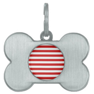 Red and White Stripe Pattern Pet Tag