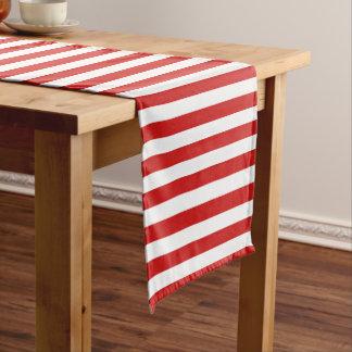 Red and White Stripe Pattern Short Table Runner
