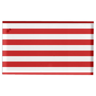 Red and White Stripe Pattern Table Card Holder