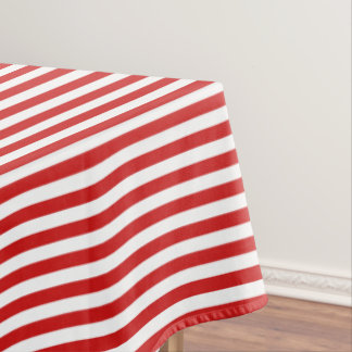 Red and White Stripe Pattern Tablecloth