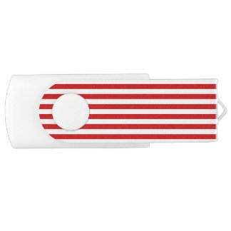 Red and White Stripe Pattern USB Flash Drive
