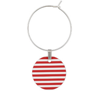 Red and White Stripe Pattern Wine Charm