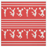 Red and White Striped Cheerleading or Pom Fabric