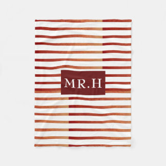 Red and White Striped Geometric Fleece Blanket