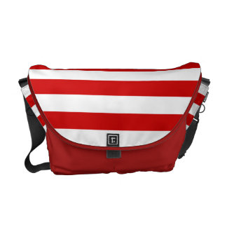 Red and White Striped Pattern Messenger Bag