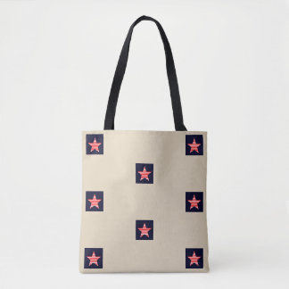 Red And White Striped Star Pattern Beige Tote Bag