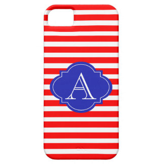 Red And White Stripes, Blue Monogram iPhone Case
