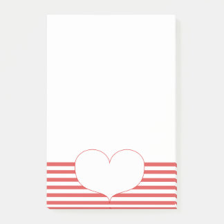 Red and White Stripes & Heart Post-it Notes