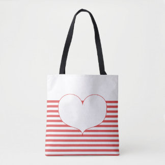 Red and White Stripes & Heart Tote Bag