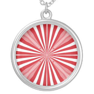 Red and white stripes round pendant necklace