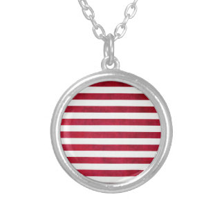 Red And White Stripes On Fabric Texture Necklaces