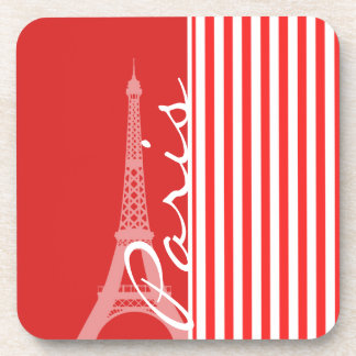 Red and White Stripes Paris Coasters