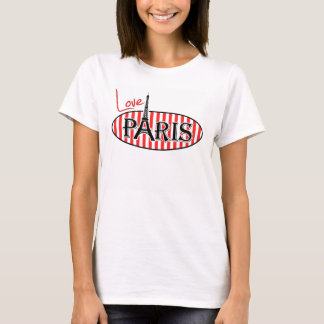 Red and White Stripes; Paris T-Shirt