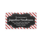 Red and White Stripes Personalised Chalk Board Label