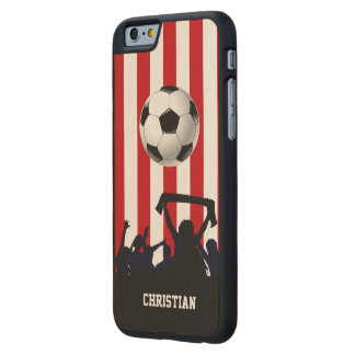 Red and White stripes Soccer Fans and football Carved Maple iPhone 6 Case