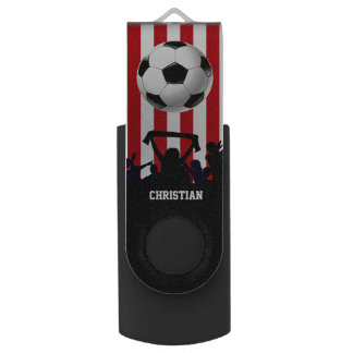 Red and White stripes Soccer Fans and football Swivel USB 3.0 Flash Drive