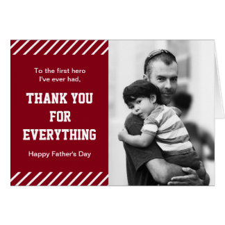 Red and White Stripes Super Dad Photo Father's Day Card