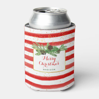 Red and White Stripes with Gold and Pine Cones Can Cooler