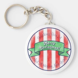 Red and White Stripes With Green Banner Basic Round Button Key Ring