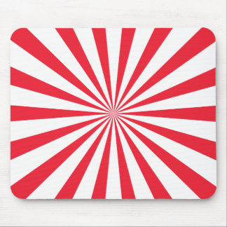 Red and White Sunburst Stripes Mouse Pad