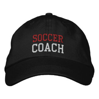 Red and White Text Soccer Coach Hat Embroidered Cap