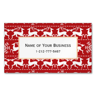 Red and White Traditional Christmas Deer Magnetic Business Cards