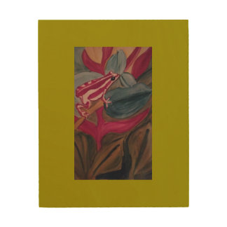 Red and white tree frog on a branch. wood wall art