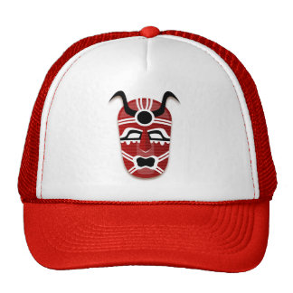 RED AND WHITE TRIBAL MASK Trucker Hat